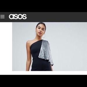 Black jumpsuit w/one shoulder gray sequin cape